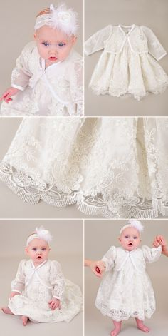 Beautiful lace, a detailed jacket and feathers to top it off, the Becca Complete Collection is a romantic piece for your little princess. Christening Gowns For Girls, Girls Baptism Dress, Baby Girl Party Dresses, Flower Girl Dresses, Jacket Dress, Lace Jacket, Baby Flower, Becca, Wedding Dresses
