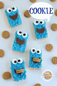Cookie Monster snacks - rice krispies and icing!