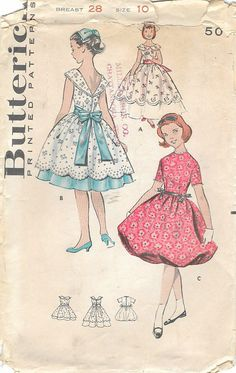 1950s Mccall S 9647 Vintage Sewing Pattern Junior Party