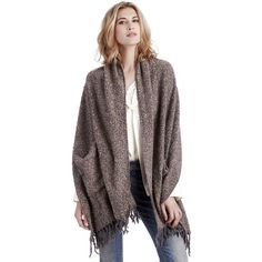 Sole Society Blanket Shawl W/ Pockets ($45) ❤ liked on Polyvore featuring women's fashion, accessories, scarves, grey, grey scarves, grey shawl, shawl scarves, gray shawl and sole society