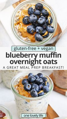 Blueberry Muffin Overnight Oats - Creamy, delicious overnight oats with a blueberry muffin twist! You'll love this yummy meal prep breakfast! (Gluten-free, vegan) // Meal Prep Breakfast // Blueberry Overnight Oats // Healthy Breakfast #glutenfree #overnightoats #oatmeal #vegan #healthybreakfast Healthy Vegan Breakfast, Gluten Free Recipes For Breakfast, Allergy Free Recipes, Gluten Free Breakfasts, Healthy Recipes, Easy Recipes, Vegan Meal Prep, Gluten Free Oats, Overnight Oats