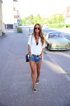 Make the shorts a little longer and change the color of the shoes to a solid color. Then the outfit would be perfect.