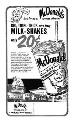Vintage McDonalds Shake ( milkshakes waren toen nog goedkoop, er is veel veranderd door de jaren heen maar zelfs toen was mc Donalds er al! )