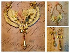 June, 2015 Bridal jewelry.  Necklace and earrings.  Ivory and gold with vintage ceramic flowers, glass pearl drops and Swarovski crystals. Victorian bride. Brass stampings and flowers from B'Sue Boutiques.  LOmara Creative.