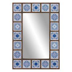 Indigo Moroccan Tile Framed Wall Mirror 28 inch by Patton Wall Decor, Blue Blue Moroccan Tile, Moroccan Decor, Moroccan Bedroom, Moroccan Lanterns, Moroccan Interiors, Moroccan Mirror, Turkish Decor, Mirror Tiles, Wall Tiles