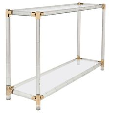 French Vintage Lucite, Brass, & Glass Console Table