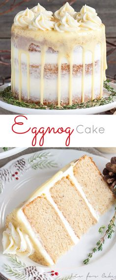 This rum spiked Eggnog Cake with cream cheese frosting and white chocolate ganache is just the thing to warm you up this Holiday season! | livforcake.com via @livforcake