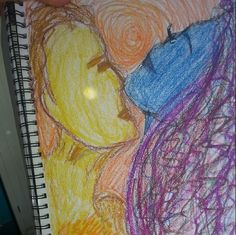 Imaginary man drawing with oil pastels