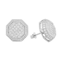 Octagon CZ Paved 14K White Gold Stud Earrings at FreshTrends.com