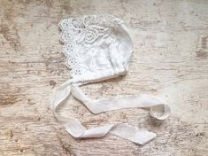 Newborn Girl Prop Outfit -  White Lace Baby Bonnet - Ready to Ship by wrenandwillowdesigns on Etsy