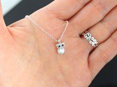 Owl Necklace .  Silver Owl- Tiny Small Owl Necklace- Cubic Zirconia Sparkle tommy -  Graduation Gift . Lawyer, Doctors, Nurse, Teacher Gift on Etsy, $24.80