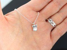 CZ Owl Necklace . Silver Owl Tiny Small Owl Necklace by MonyArt