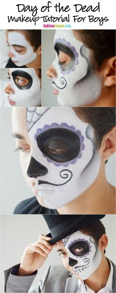 Day of the Dead Face Painting Tutorial for Boys: Celebrate the spiritual holiday of Día de los Muertos with sugar skull makeup- Dia de muertos-Mexico, cultura, tradicion - Calavera Catrina Day of the death Face Painting Tutorials, Face Painting Designs, Maquillaje Sugar Skull, Maquillaje Halloween Tutorial, Sugar Skull Face Paint, Skeleton Face Paint, Skeleton Makeup, Karneval Diy, Face Painting For Boys