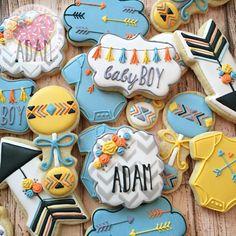 Baby shower cookies, aztec cookies, baby cookies, i heart sprinkles cookies Baby Boy Cookies, Baby Shower Cookies, Cute Cookies, Boho Baby Shower, Baby Shower Fall, Baby Boy Shower, Sprinkle Cookies, Sugar Cookies, Iced Cookies