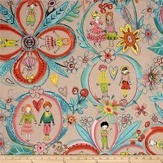 Alexander Henry Monkey's Business Flower Children Linen/Tea Dye - Discount Designer Fabric -  Fabric.com