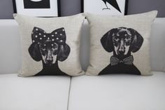 Limited Edition Mr & Mrs Dachshund Vintage Cushion Cover Size: 45cm x 45cm Free international shipping! Get yours here: https://goo.gl/GkXiqh