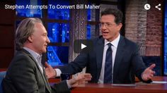 On Tuesday, Nov. 17, CBSposted this video from The Late Show in which host Stephen Colbert invites guest Bill Maher to return to the Church.  Who got the better of the exchange? Watch above or