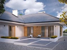 Casa in forma de T, fara etaj, cu 4 dormitoare si garaj - proiect si imagini New House Plans, New Homes, Php, Outdoor Decor, Home Decor, House Siding, Facades, Sweet, New Home Plans