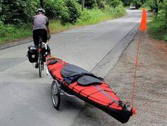 Kayak bicycle trailers -- pull your kayak by bike! Canoe Boat, Kayak Boats, Canoe And Kayak, Kayaks, Hobie Kayak, Kayak Rack, Kayak Storage, Kayak Hanger, Kayak Bike Trailer
