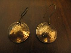 ORIGINAL HANDMADE BRITISH 1 PENNY COIN EARRINGS COPPER MEDIUM SIZE