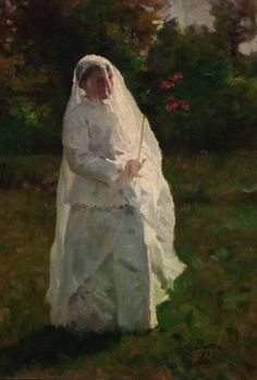 """""""Study for The Communicants"""" by Jules Breton, 1883 oil on canvas. In the collection of the Baltimore Museum of Art, MD. Photo by Bruce Guthrie."""