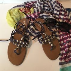 🌞SUMMER CLEARANCE🌞 Gladiator Sandals Purple with silver accents and ankle tie - Very cute and comfortable If Carrini Shoes Sandals
