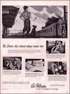 1949 Pullman Trains Original Vintage Print Ad Old Train Ad Little Boy and Dog
