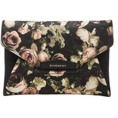 GIVENCHY Medium Antigona Envelope Clutch in Floral (37 475 UAH) ❤ liked on Polyvore featuring bags, handbags, clutches, accessories, purses, floral, flap purse, floral print handbags, flap handbags and lambskin handbag