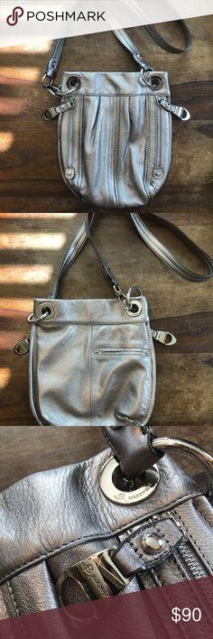 B. Makowsky Pewter Leather Crossbody Handbag Gorgeous barely used B. Makowsky pewter/silver medium size crossbody handbag!  Beautiful leather!  Magnetic closure.  Shoot me an offer!!! b. makowsky Bags Crossbody Bags