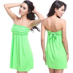 e624c30e71 Strapless Mini Ruffles Bandage Style Brazilian Beach Dress Coverup 10  Colors One Size Bikini Swimwear
