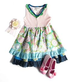 Matilda Jane It's A Wonderful Parade Spring 2014 - Cake Walk Tank Dress size 8 (bottom ruffle layer removed to make custom dress)