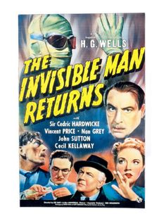 The Invisible Man Returns, Vincent Price, Cedric Hardwicke, Nan Grey, Cecil Kellaway, 1940 http://cheesymonstermovies.com/universal-monsters/invisible-man-returns/255