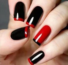 Acrylic Nail Designs Red And Black | Cool Nail Design Ideas