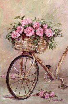 Vintage Bicycle with Rose Basket Painting Decoupage Vintage, Decoupage Paper, Art Floral, Vintage Cards, Vintage Paper, Vintage Bicycle Art, Vintage Pictures, Vintage Images, Vintage Prints