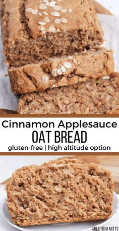 This easy, healthy recipe for Cinnamon Applesauce Oat Bread will get anyone baking! Gluten-free, low in sugar (only cup of brown sugar) with high altitude tips; this loaf is moist and lightly sweetened with apple, and made healthier with coconut oil, a Foods With Gluten, Gluten Free Desserts, Dairy Free Recipes, Gluten Free Bread Recipe Easy, Dairy Free Quick Bread, Healthy Gluten Free Snacks, Gluten Free Pumpkin Bread, Gluten Free Recipes For Breakfast, Apple Bread Recipe Healthy