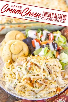 Baked Cream Cheese Chicken Alfredo - the BEST Chicken Alfredo EVER. Everyone goes crazy over this dish. Spaghetti, chicken, Alfredo sauce, cream cheese, garlic, parmesan, and mozzarella cheese. You can make this ahead of time and refrigerate or freeze until ready to bake. Great for a crowd. Seriously better than any restaurant. #spaghetti #chicken #alfredo