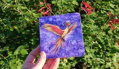 Night Phoenix Art Coaster. Magical phoenix illustration! Phoenix Art, Round Corner, Drink Coasters, Fantasy Art, Badge, Illustration, Artwork, Etsy, Night
