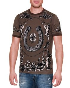bb5e281b255 Dolce   Gabbana Horseshoe   Floral Graphic T-Shirt. Polo T ShirtsDolce And  Gabbana ManMens FashionPulloverNeiman ...
