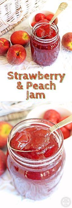 Strawberry & Peach Jam - a taste of summer and so delicious! @FabFood4All Fruit Jam, Ripe Fruit, Peach Fruit, Homemade Jelly, Homemade Recipe, Easy Jam Recipe, Jam And Jelly, Canning Recipes, Freezer Recipes