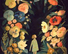 El jardín de noche impresión 8 x 10 por theblackapple en Etsy