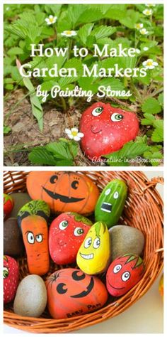 How to Make Garden Markers by Painting Stones I DIY garden decor Garden Types, Diy Garden, Garden Projects, Garden Art, Garden Landscaping, Garden Design, Garden Ideas, Diy Projects, Garden Basket