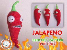 "PATTERN – Jalapeno from ""Plants vs Zombies"" - crochet pattern, amigurumi pattern, pdf, tutorial PDF file"