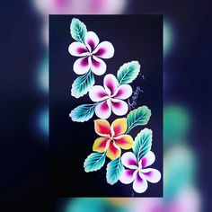 Plumeria flower  Acrylic painting  Step by step video on my YouTube channel. Http://www.YouTube.com/user/Renju1432