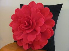 The Daisy Rose decorative throw pillow pattern is a SewYouCanToo ORIGINAL felt flower pillow design. The pattern shows you how to make the Daisy