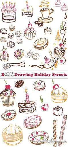 Нарисованные праздничные сладости, векторный клипарт