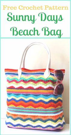 Crochet Sunny Days Beach Bag Free Pattern - Crochet Handbag Free Patterns Instructions