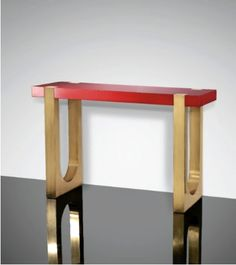 console in brass, copper and lacquer, by Serge Manzon. -- Would be great to replace red top with reclaimed wood