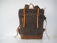 Waxed Canvas Backpack / Rucksack Zipper Closure Zipper Pocket Padded Straps Laptop Pouch Leather Stone Nutmeg by thedragonflypath on Etsy https://www.etsy.com/uk/listing/128780086/waxed-canvas-backpack-rucksack-zipper
