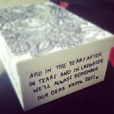 keepsake box :) This would be a cool senior send off gift idea littles can do for their bigs