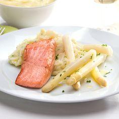 ALDI België - Recept - Gebakken zalmfilet met witte asperges en aardappelpuree…